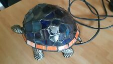 Tiffany Style Tortoise Table Lamp Stained Glass Bronze Body Ornament Night Light