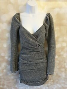 Boohoo Silver Glitter Rouched Dress Size 6