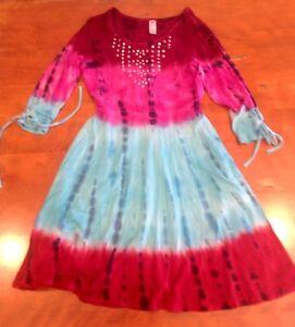 Girls Justice Size 10  Tie Dye Lattice Dress