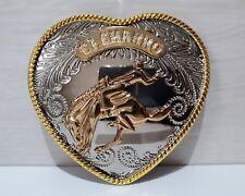 (EL CHARRO) FIBBIA in Acciaio a forma di CUORE cintura ANNI 80 (PREPPY PANINARO)