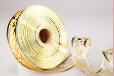 New 5*200cm Nice holiday Christmas Gift Golden Grosgrain Ribbon