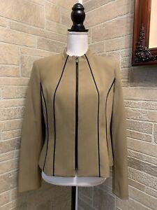 Kasper Size 6 Collarless Zip Zipper Front Lined Blazer Jacket Tan Brown
