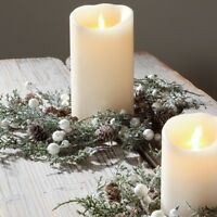 "RAZ Imports~14"" Christmas Frosted Iced Pinecone & Berry Candle Ring~Mini Wreath"