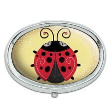 Cute Ladybug Metal Oval Pill Case Box