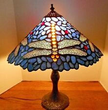 Tiffany style stained art glass Dragonfly multi colored shade table lamp 18""