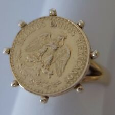 VINTAGE 14K & 22K GOLD MEXICAN 1945 DOS PESOS COIN RING