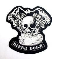 Biker Born Skull Chopper Harley Motorcycle Racing Jacket T-Shirt Iron on Patch