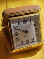 Vintage ~ EQUITY Wind Up Travel Alarm Clock ~ Brown Case ~ Works