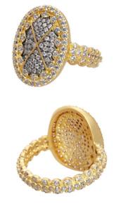 Freida Rothman Designer Contemporary Embellished Cocktail Ring Size 6 NEW $175
