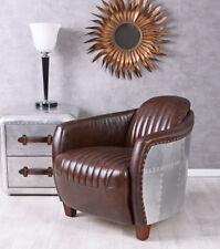 Leather Armchair Aircraft Design Club Chair & Aluminum Aviator Vintage