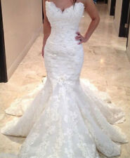 Mermaid Wedding Dresses Lace Beaded Bridal Gowns White Ivory Train Strapless