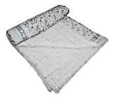 Vintage Kantha Hand Block Print Quilt Throw Bedspread Home Decor Cotton Blanket