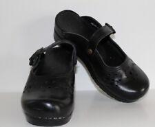 Sanita #7051 Leather Cut Out Black Mary Jane Mule Clog Women's 36 SHIPS FREE!