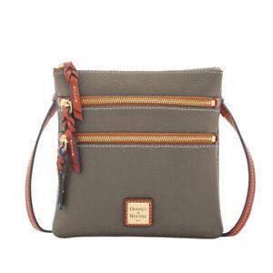 Dooney & Bourke Womens Eleph Grey Pebble Leather Triple Zip Crossbody Bag 8845-7