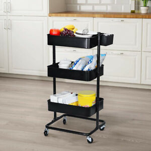 3-Tier Metal Rolling Cart Storage Utility Cart For Kitchen Office Bath Household