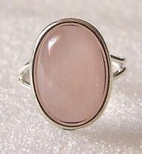 Genuine Pale Pink Rose Quartz Gemstone Adjustable Ring Size M-P in Gift Box