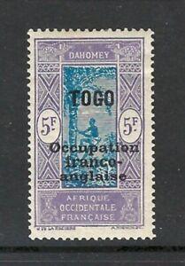 TOGO 1916-17 5fr Overprint on Dahomey Issue Mint - Nice Hi Value! (Jun 831)