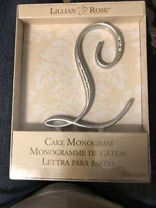 Lillian Rose Monogram Wedding Cake Topper Silver Rhinestone Letter L NEW