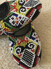 BEVERLY FELDMAN Multicolored Beaded Trimmed Round Toe Slip On Flats Sz 9.5 NEW