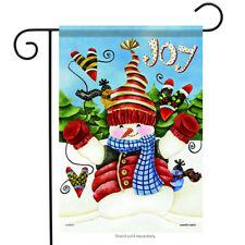 "Winter Snowman Joy Garden Flag Birds Hearts Snow 2 Sided Holiday 13"" x 18"""