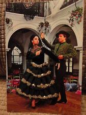 Post Card Spain Costume Silk Embroidered Spanish Couple Dance Unused Vintage