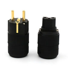 Pair Unprinted High Quality Gold Plated EUR SCHUKO Power Plug IEC Connector