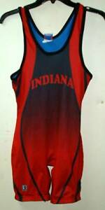 Team Gear Brute  Indiana  wrestling singlet  blue red small 115- 135