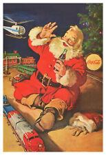 Coca Cola Santa Claus With Toys Around The Tree - Vintage 1962 Christmas Poster