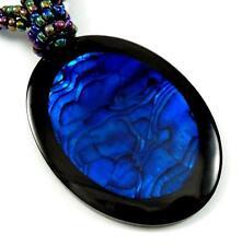 "Handmade 2.4"" Magnificent Blue Paua Abalone Shell Beads necklace 19"": BA367"