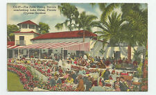 Linen Postcard - Cypress Gardens in Florida - Palm Dining Terrace, Unused #pc46