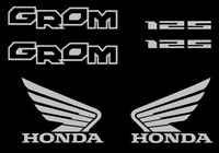 Honda GROM Decal Kit SILVER Sticker Motorcycle 125 graphics decals stickers