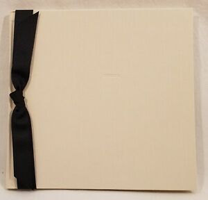"""MARA MI Ivory Embossed Perfect Guest Book with Black Ribbon - 9"""" x 9"""""""