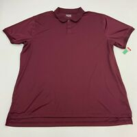 Basic Editions Polo Shirt Mens 3XLT Maroon Polyester Short Sleeve Casual Golf