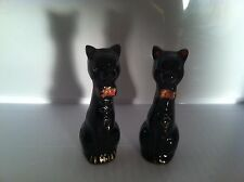 VINTAGE REDWARE ABSTRACT BLACK SIAMESE CAT SALT & PEPPER SHAKERS MADE IN JAPAN