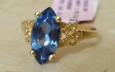 $450 10k yellow gold 1.62 carat Blue Quartz Marquise signet ring size 6.75