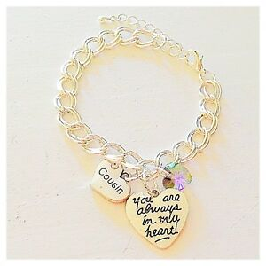 Cousin Silver Custom Charm Bracelet 'You Are Always in My Heart' Jewelry Gift