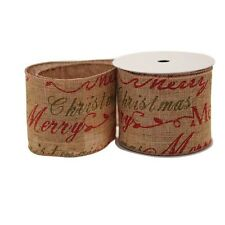 Luxury Natural Merry Christmas Script Fabric Wired Hessian Ribbon - 1m length