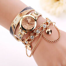 Woman Watch Leather Rhinestone Rivet Chain Bracelet Quartz Wristwatch Trusty US