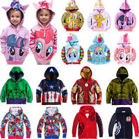 Kids Toddler Boy Girl Cartoon Print Hoodie Sweatshirt Jacket Coat Hooded Outwear