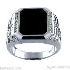 Mens Ring Diamond Onyx 14K White Gold