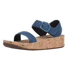 4d32662bf3360f FitFlop Size 10 Bon Blue Denim Cork Back Strap Wedge Sandals Womens Shoes
