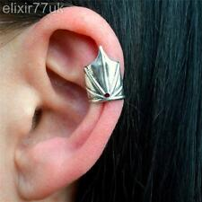 NEW UK SILVER CROWN BAT WING CARTILAGE HELIX EAR CUFF CLIP ON  WRAP EARRING PUNK