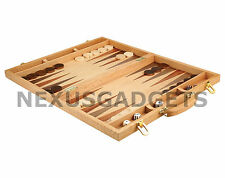 Backgammon Game Set 18 INCH Classic Suitcase In Wood Inlaid Board Wooden Pieces