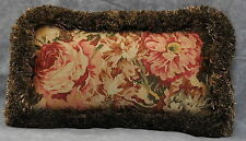 Pillow made w/ Ralph Lauren Guinevere Medieval Brown Floral Fabric 6x12 fringe