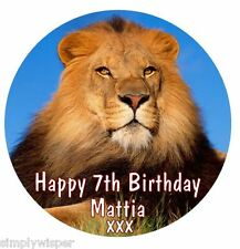 "Lion Personalised 7.5"" Icing Cake Decoration Topper Brave King Birthday"