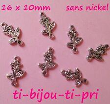 LOT de 20 CONNECTEURS perles breloque TIGES FLEURS 16x10mm ARGENTES sans nickel
