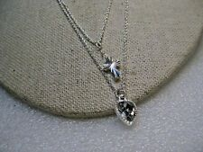 """Double Strand Cross & Heart Necklace CZ,  16"""" & 18"""", Silver Tone, signed SAG"""