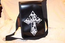 Womens ADDICTED Black PUNK ROCK SKULLS Cross Purse Bag NWT Rockabilly Goth