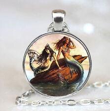 Chain Pendant Necklace jewelry #40 Vintage Mermaid Cabochon Tibetan silver Glass
