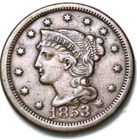 1853 Braided Hair Large Cent Condition Excllent Details  R6i-52-364